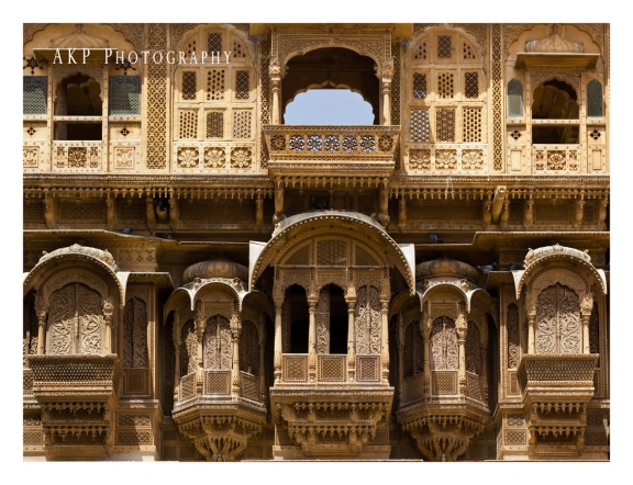 The intricately stone-carved Jharokhas or small balconies on the exteriors of Patwa ki Haveli...