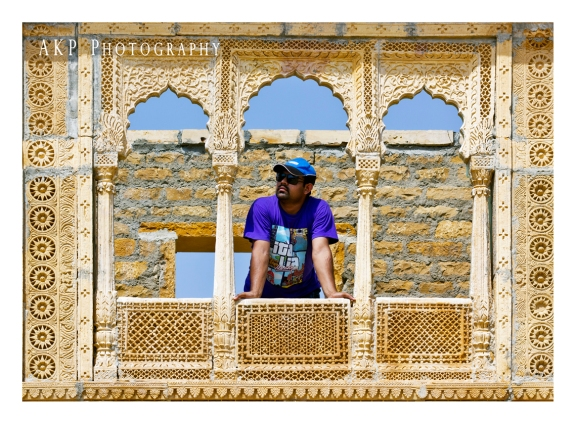 Looking beyond from an ornated balcony at Kuldhara village...