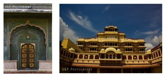 The City Palace... A decorated hand-painted door on the left, with the Chandra Mahal on the right... Photo: AKP Photography