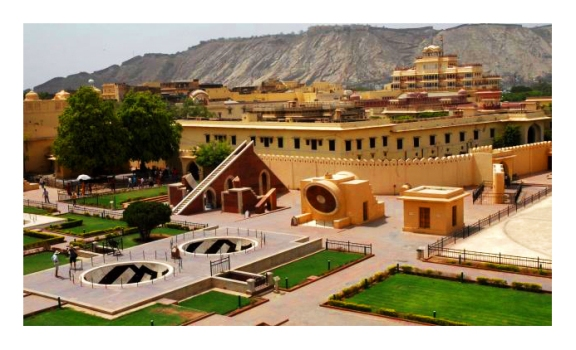 Jantar Mantar Complex with the City Palace and the Nahargarh Fort in the background... Courtesy: Wikipedia