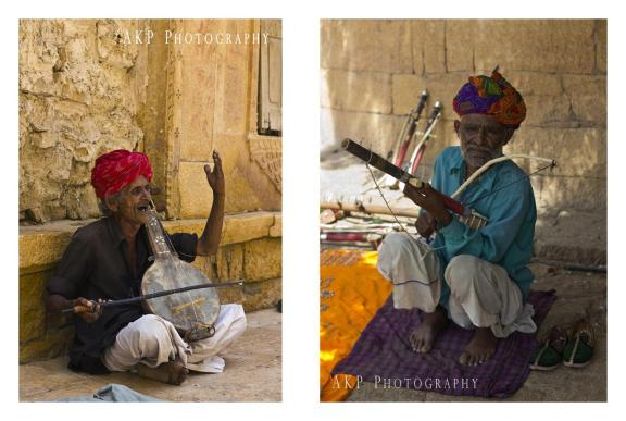 Locals of Jaisalmer, wearing traditional Bandni printed turbans and playing their hand-made string instruments, Sarangi...