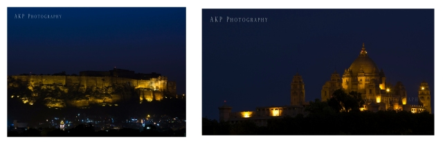The night shots of the Mehrangarh Fort (left) and the Umaid Bhawan Palace (right) as seen from our hotel... Photo: AKP Photography